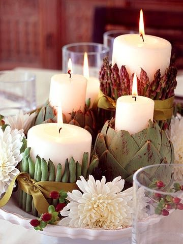 decoración_evento_verduras_velas