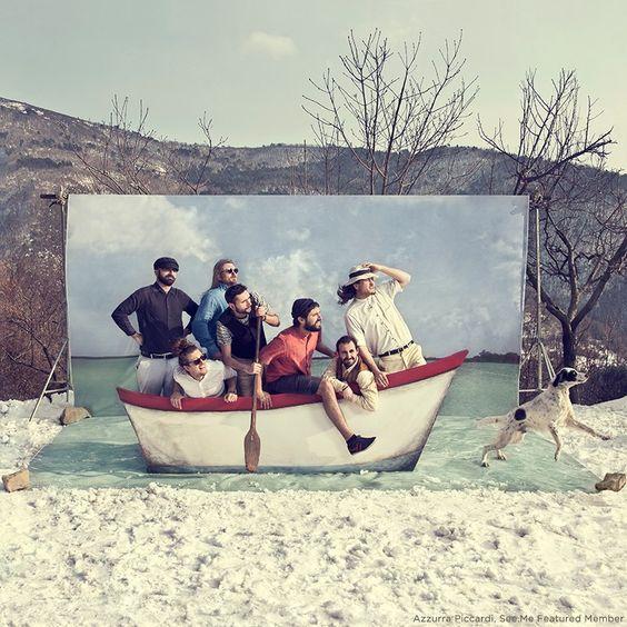 Photocall fondo mar barca